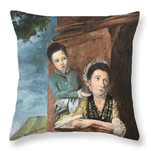 Vintage Mother And Son Throw Pillow by Mary Ellen Anderson