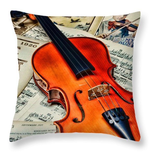 Vintage Music And Violin Throw Pillow by Paul Ward