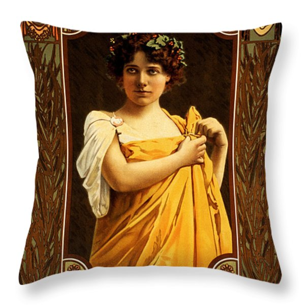 Vintage Nostalgic Poster - 8058 Throw Pillow by Wingsdomain Art and Photography