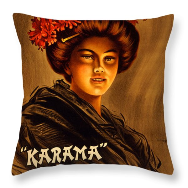 Vintage Nostalgic Poster - 8059 Throw Pillow by Wingsdomain Art and Photography