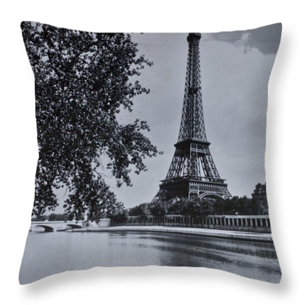 Vintage Paris Throw Pillow by Nomad Art And  Design