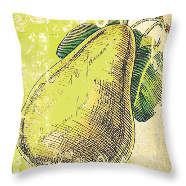 Vintage Pear Print Throw Pillow by Anahi DeCanio