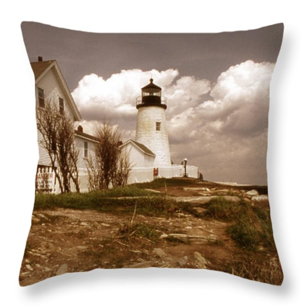 VINTAGE PEMAQUID POINT LIGHTHOSE Throw Pillow by Skip Willits