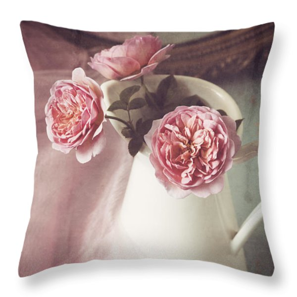 Vintage Pink Throw Pillow by Amy Weiss