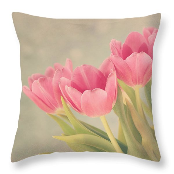 Vintage Pink Tulips Throw Pillow by Kim Hojnacki