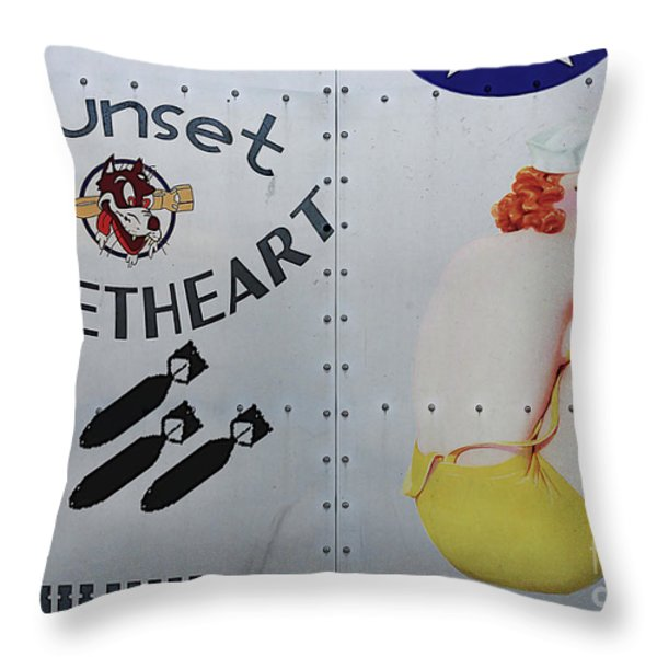 Vintage Pinup Nose Art Sunset Sweetheart Throw Pillow by Cinema Photography