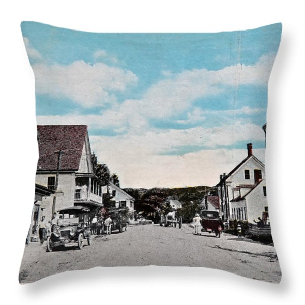 Vintage Postcard Of Wolfeboro New Hampshire Throw Pillow by Valerie Garner