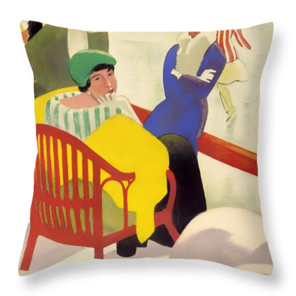 Vintage Poster 1936 Throw Pillow by Mountain Dreams