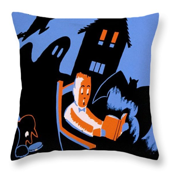 Vintage Poster - Reading - October Throw Pillow by Benjamin Yeager