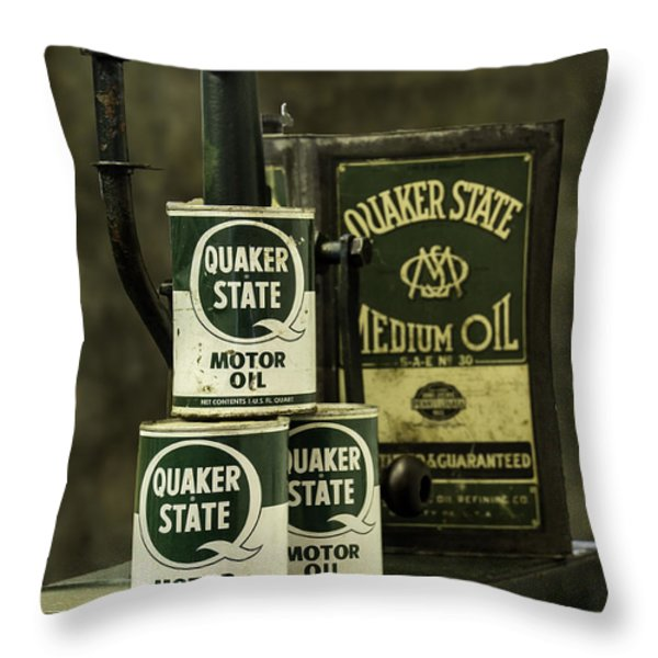 Vintage Quaker State Motor Oil Throw Pillow by Betty Denise