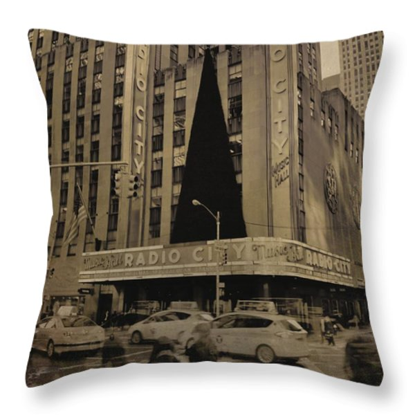 Vintage Radio City Music Hall Throw Pillow by Dan Sproul