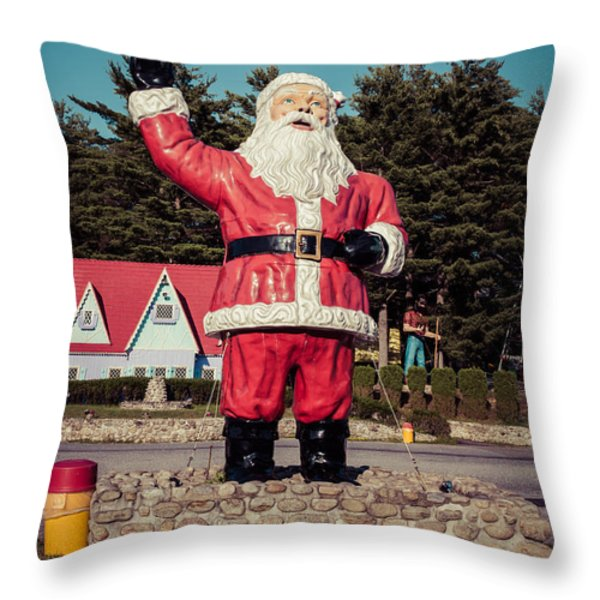 Vintage Santa Claus Christmas Card Throw Pillow by Vintage Photograph