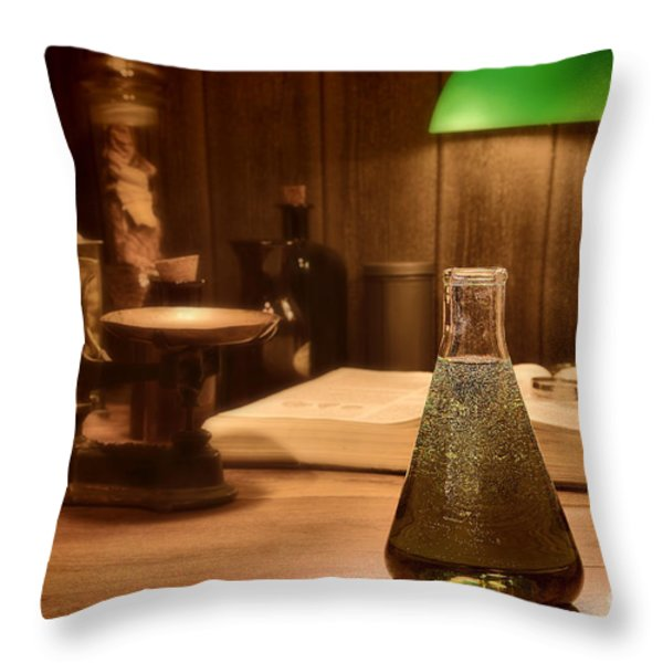 Vintage Science Laboratory Throw Pillow by Olivier Le Queinec