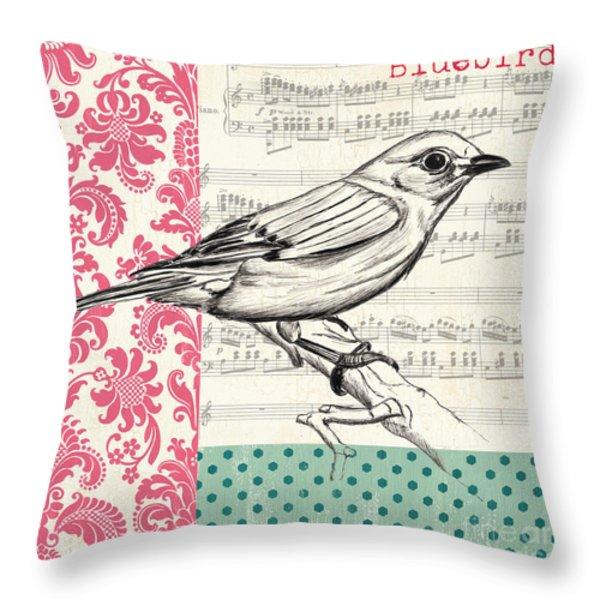 Vintage Songbird 1 Throw Pillow by Debbie DeWitt