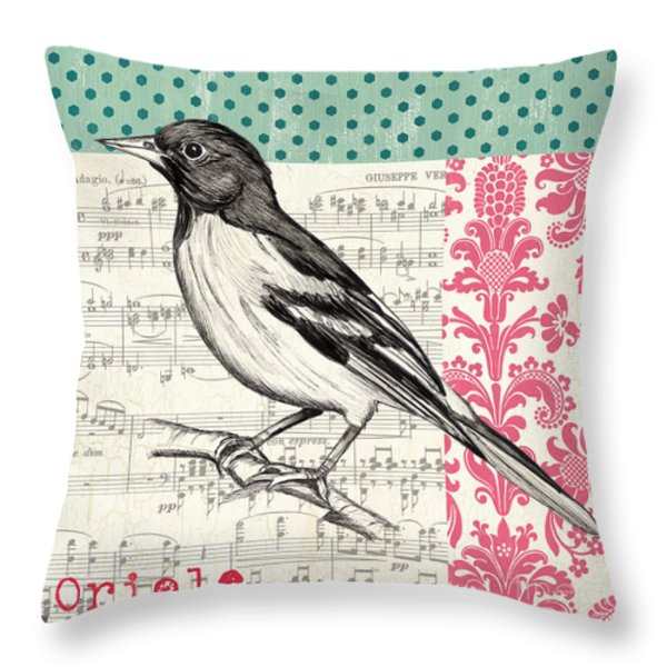 Vintage Songbird 2 Throw Pillow by Debbie DeWitt