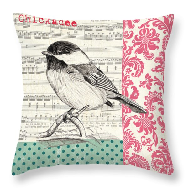 Vintage Songbird 3 Throw Pillow by Debbie DeWitt