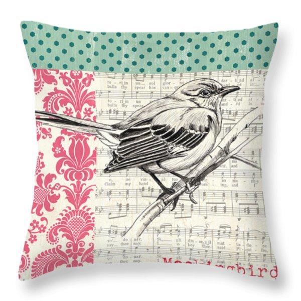 Vintage Songbird 4 Throw Pillow by Debbie DeWitt