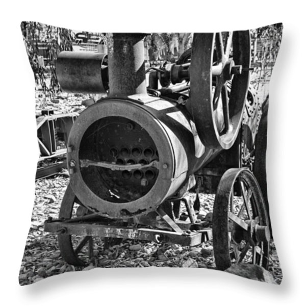 Vintage Steam Tractor Black and White Throw Pillow by Douglas Barnard