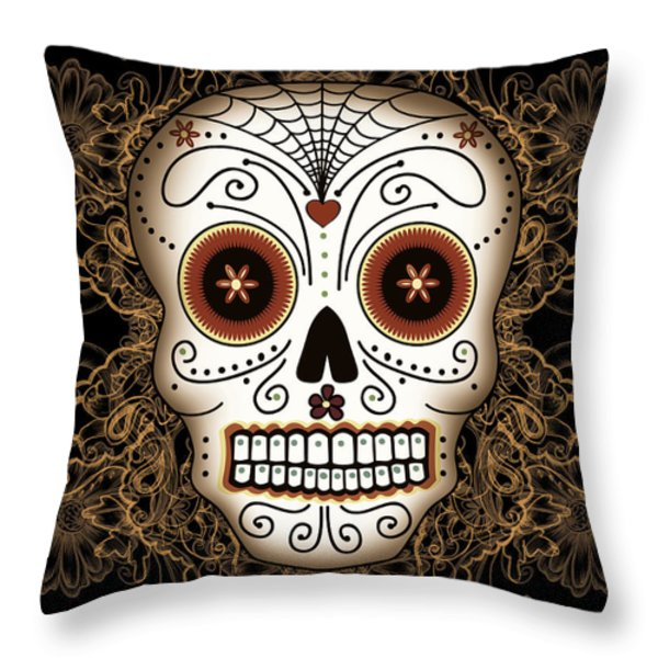 Vintage Sugar Skull Throw Pillow by Tammy Wetzel