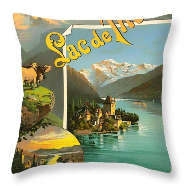 Vintage Tourism Poster 1890 Throw Pillow by Mountain Dreams