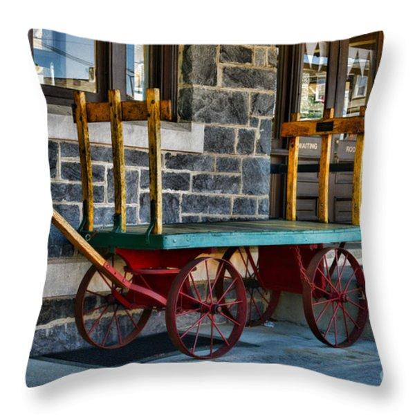 Vintage Train Baggage Wagon Throw Pillow by Paul Ward