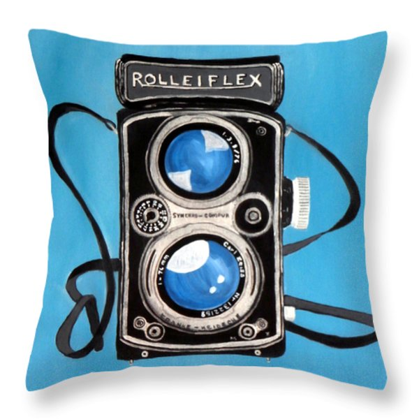 Vintage View Camera Throw Pillow by Karyn Robinson