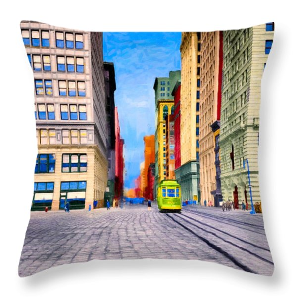 Vintage View Of New York City - Union Square Throw Pillow by Mark Tisdale