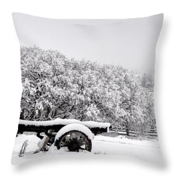 Vintage Wagon In Snow And Fog Filled Valley Throw Pillow by Gary Whitton