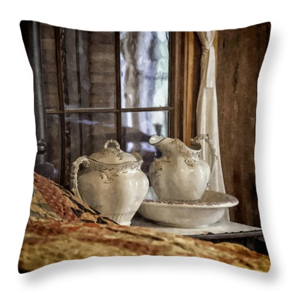 Vintage Wash Bowl And Pitcher Throw Pillow by Lynn Palmer