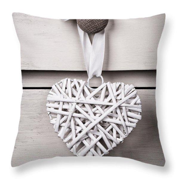 Vintage wicker heart Throw Pillow by Jane Rix
