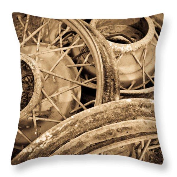 Vintage Wire Wheels Throw Pillow by Steve McKinzie