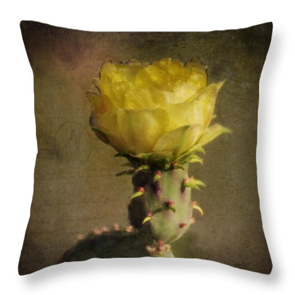 Vintage Yellow Cactus Throw Pillow by Sandra Selle Rodriguez