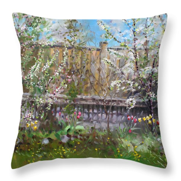 Viola's Apple And Cherry Trees Throw Pillow by Ylli Haruni