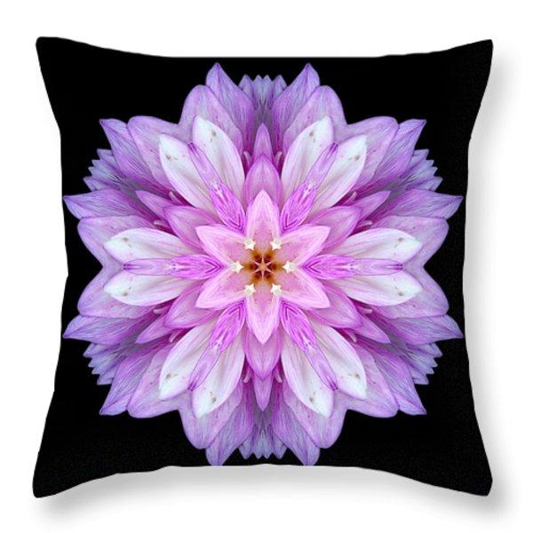 Violet Dahlia I Flower Mandala Throw Pillow by David J Bookbinder
