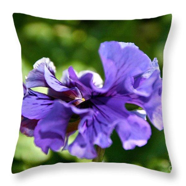 Violet Ruffles Throw Pillow by Susan Herber