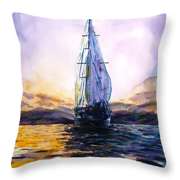 Violet Sunset Throw Pillow by Zaira Dzhaubaeva