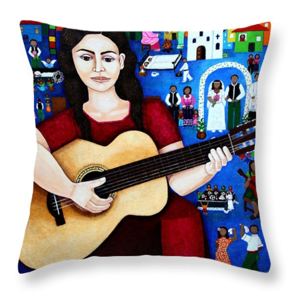 Violeta Parra And The Song Black Wedding Throw Pillow by Madalena Lobao-Tello