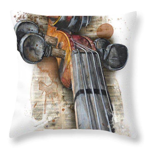 Violin 01 Elena Yakubovich Throw Pillow by Elena Yakubovich