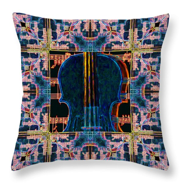 Violin Abstract Window - 20130128v1 Throw Pillow by Wingsdomain Art and Photography