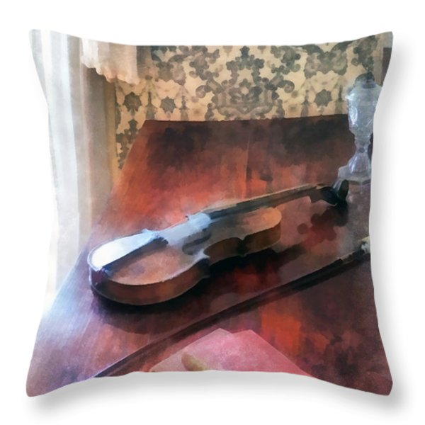 Violin on Credenza Throw Pillow by Susan Savad