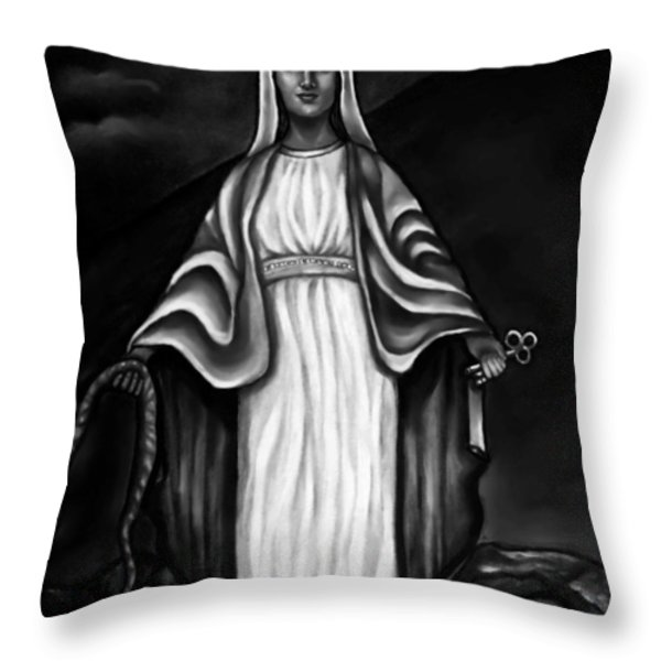 Virgen Mary in Black and White Throw Pillow by Carmen Cordova