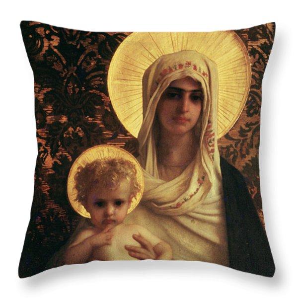 Virgin And Child Throw Pillow by Antoine Auguste Ernest Herbert