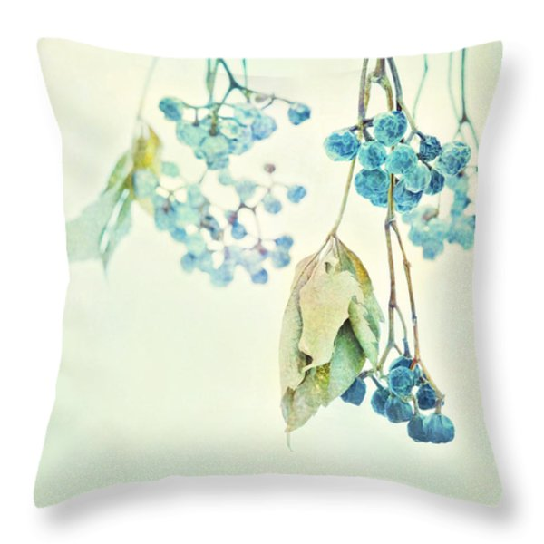 VIRGINIA CREEPER BERRIES Throw Pillow by Theresa Tahara