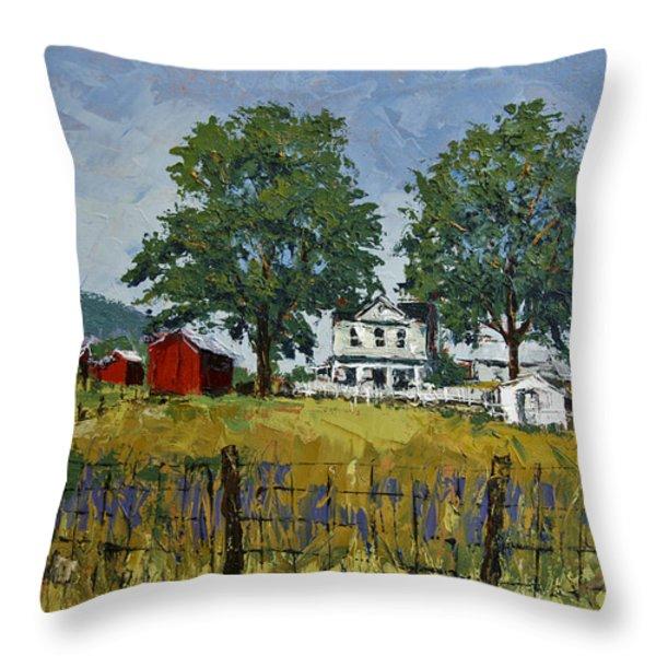 Virginia Highlands Farm Throw Pillow by Peter Muzyka