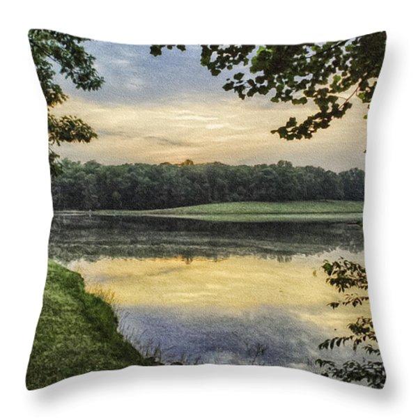 Virginia Lynchburg Thousand Trails Sunset Throw Pillow by  Bob and Nadine Johnston