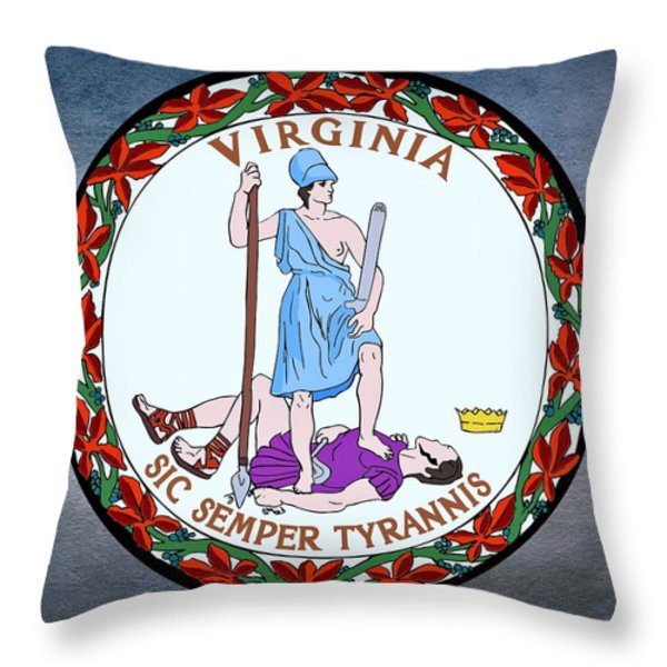 Virginia State Seal Throw Pillow by Movie Poster Prints
