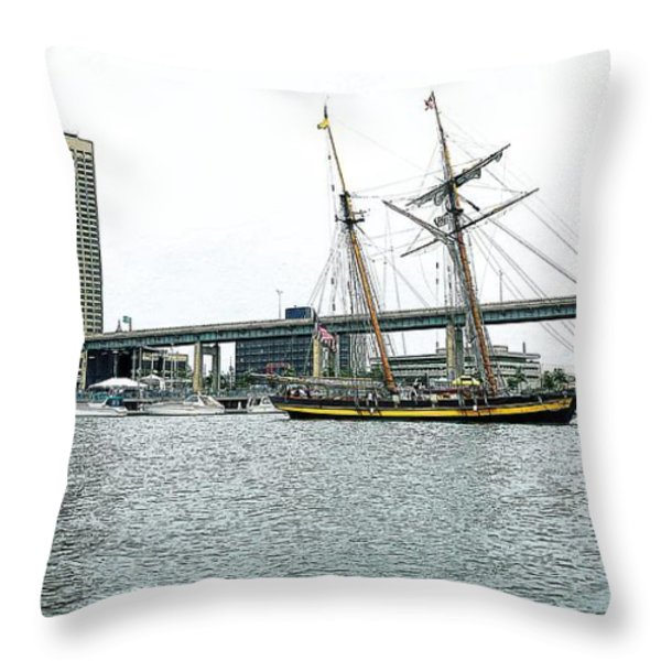 Visiting Ship Throw Pillow by Kathleen Struckle