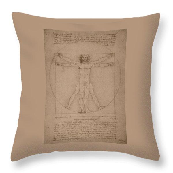 Vitruvian Man  Throw Pillow by War Is Hell Store