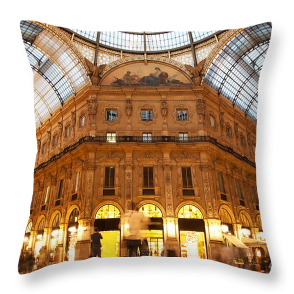 Vittorio Emanuele II Gallery Milan Italy Throw Pillow by Michal Bednarek