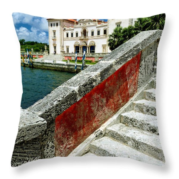 Vizcaya Museum And Gardens Biscayne Bay Miami Fl Throw Pillow by Amy Cicconi
